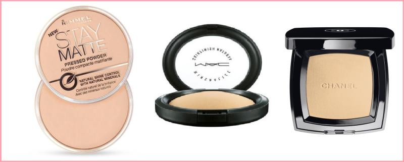 From left to right: Rimmel Stay Matte Powder, MAC Mineral Skinfinish Natural, Chanel Poudre Universelle Compacte.
