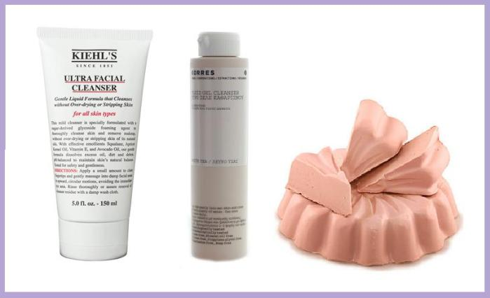 From left to right: Kiehl's Ultra Facial Cleanser, Korres White Tea Facial Fluid Gel Cleanser, Lush Fresh Farmacy.